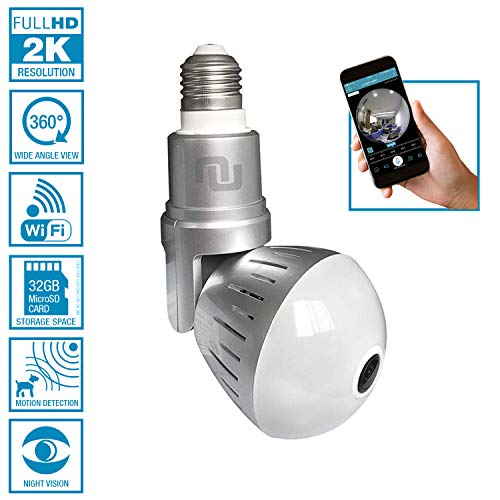 Nucam 380 Premium LED Light Bulb Camera Fisheye APP Controlled Hidden Cam w. 2K 360° Panoramic View, WiFi Connection, Newest H.265 Technology, Motion Detection Based Recording and Night Vision