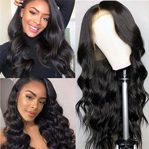 Hepoiss Lace Front Human Hair Wigs Pre Plucked Hairline Bleached Knots 150% Density Brazilian Body Wave Lace Front Wigs with Baby Hair Natural Color (16 inch, 13x4 lace front wig)
