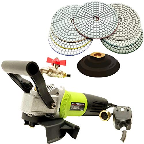 QuickT SPW702A Concrete Countertop Wet Polisher Variable Speed Grinder Sander Granite Stone Polisher Polishing Fabrication Tools Kit - 4' Diamond Polishing Pads for Concrete Granite Marble Tile Polish