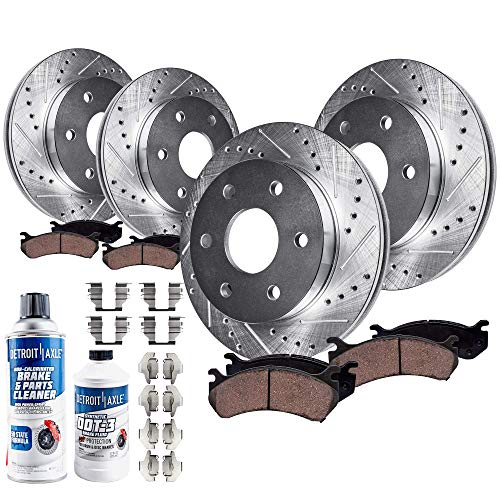 Detroit Axle - All (4) Front and Rear Drilled and Slotted Brake Kit Rotors w/Ceramic Pads for 2008-2017 Buick Enclave - [2009-2017 Chevy Traverse] - 2007-2016 GMC Acadia - [2007-2010 Saturn Outlook]