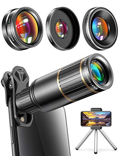 CoPedvic Phone Camera Lens Phone Lens for iPhone Samsung Pixel Android, 22X Telephoto Lens, 4K HD 0.67X Super Wide Angle Lens&25X Macro Lens, 205° Fisheye Lens, Work as Telescope with Metal Tripod