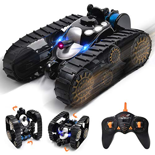 Ulvench Rechargeable RC Tank Car Gifts Toy with Music LED Light, 360-degree Rotating Flip Stunt Vehicle, High Speed Tank Auto,Present Xmas for Boys Girls Teens and Children.