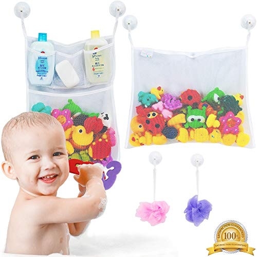 2 x Mesh Bath Toy Organizer + 6 Ultra Strong Hooks – The Perfect Bathtub Toy Holder & Bathroom or Shower Caddy – These Multi-use Net Bags Make Baby Bath Toy Storage Easy – For Kids & Toddlers