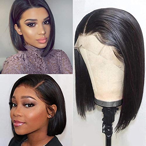 Human Hair Bob Wigs Lace Front 13x4 Short Bob Wig 9A Brazilian Remy Hair Lace Frontal Wigs Straight Human Hair Bob Wigs 150% Density 8 Inch Natural Color