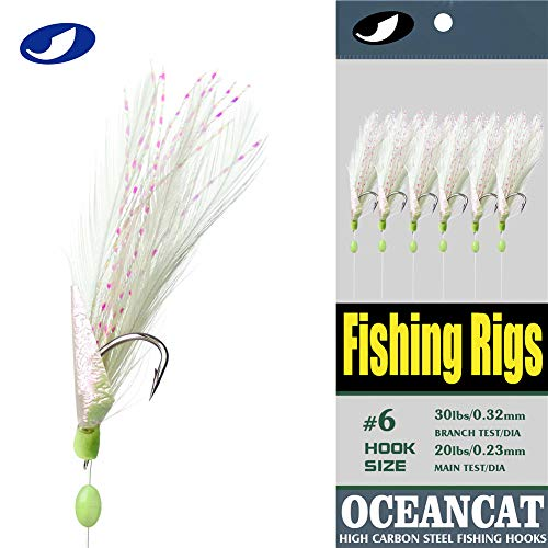 OCEAN CAT 10 Packs Fishing Rigs 3 Feather & Fish Skin 6 Hooks Saltwater String Hook Fishing Lure Bait Rigs Tackle Jig (10#, 10 Packs)
