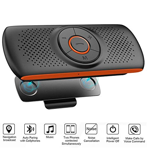 Bluetooth Handsfree Speakerphone for Cell Phone, NETVIP Wireless Car Kit Music Player Adapter with Back-Clip Portable Bluetooth Speaker for Home/Sport/Outdoor, Work with Siri/Google Assistant/TF Card