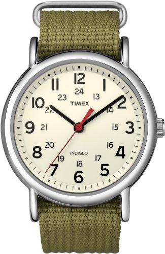 Timex Unisex T2N651 Weekender 38mm Olive Nylon Slip-Thru Strap Watch