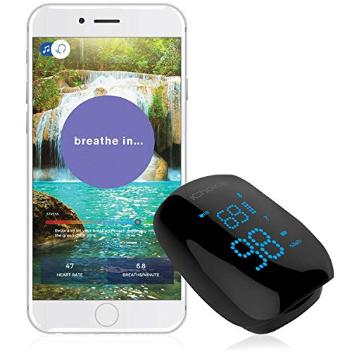 iChoice Relaxation Coach Smart Pulse Oximeter  Portable Bluetooth Sensor for Meditation & Relaxation - Easily Monitor Stress, Heart Rate and SPO2 (Oxygen Saturation) Trends