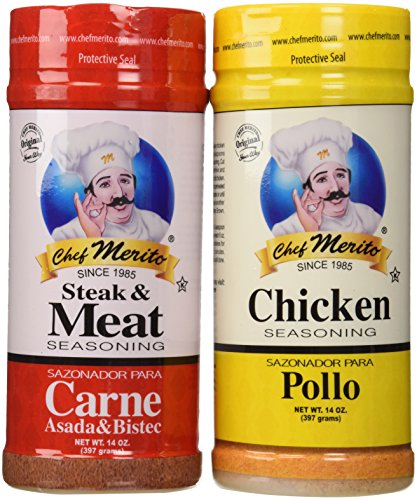 Chef Merito Carne Asada Beef and Chicken Seasoning Combo Pack, 14 oz I Pollo Asado,Carne Asado, Fajitas, Rotisserie Chicken, Meat Seasoning