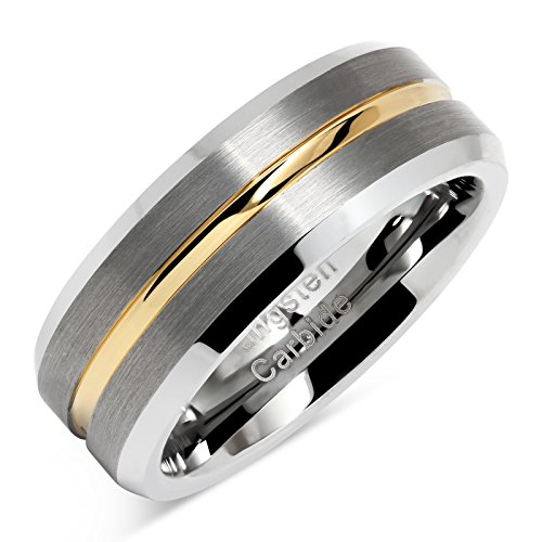 Tungsten Rings for Men Two Tone Silver Wedding Bands Gold Grooved Matte Finish Size 8-16 (10)