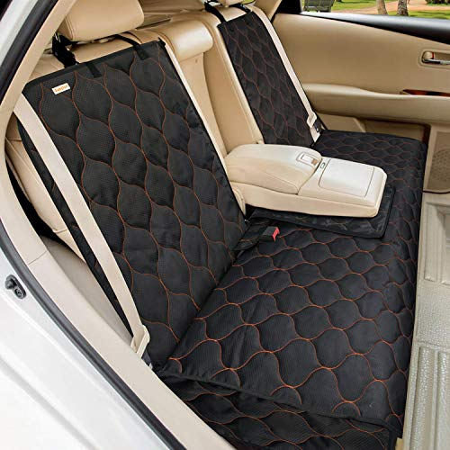 BABYLTRL Dog Car Seat Cover Waterproof Pet Bench Seat Cover Nonslip and Heavy Duty Pet Car Seat Cover for Dogs and Armrest Fits Cars, Trucks and SUVs (56' W x 49' L, Black)