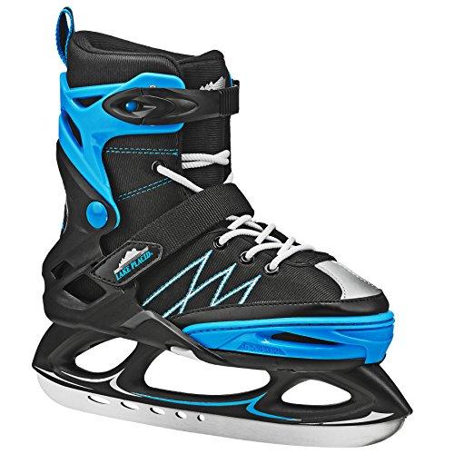 Lake Placid Monarch Boys Adjustable Ice Skate, Black/Blue, Small/11-2