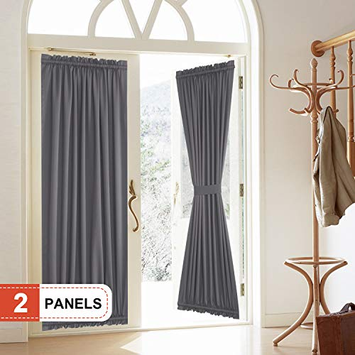 Rose Home Fashion Blackout Door Curtain, Elegance French Door Curtains for Privacy, Thermal Insulated Door Curtain Panels, Room Darkening Door Window Curtain (50' x 72' 2pcs: Dark Grey)