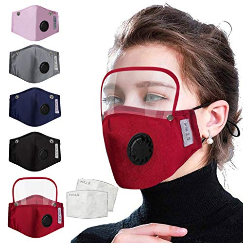 5PCS+10 Filter New Fashion 2020 Men Women Adults Washable Reusable Cotton Comfortable Face Mouth With Detachable Eye ShieldIn Stock