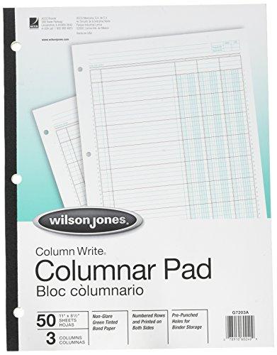 Column Pad, 3 Column, 3-7/16' Wide, 40 Line/Page, 11'x8-1/2', Green, 50/Pad WLJG7203