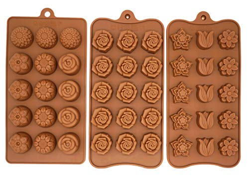 Poproo 3-Piece Flower Silicone Molds Gummy Candy Molds Chocolate Mold Ice Cube Tray Cake Decoration Party & Wedding Gift, 45-Cavity