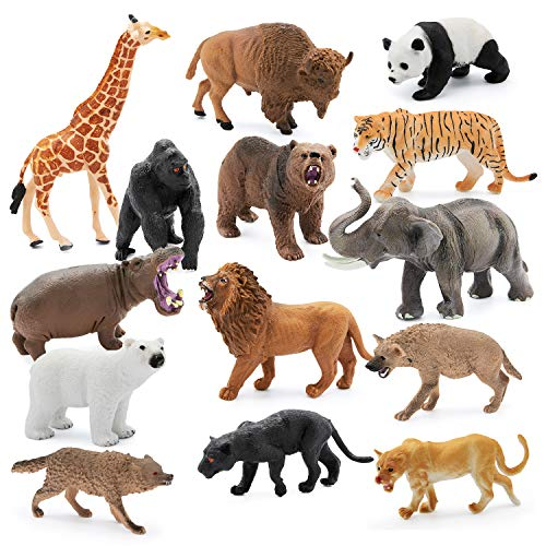 14 Pieces, 4-6 inch Animals Figurines for Kids and Toddler for Imaginative Play | Wildlife African Safari Animals| Zoo Playset | Educational Toys | with Bonus Storage Bag