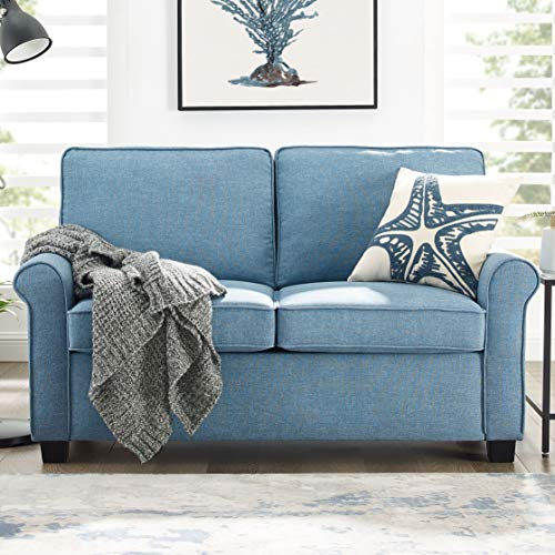 Mainstay Sofa Sleeper with Memory Foam Mattress | No-Tool Easy Assembly, Light Blue