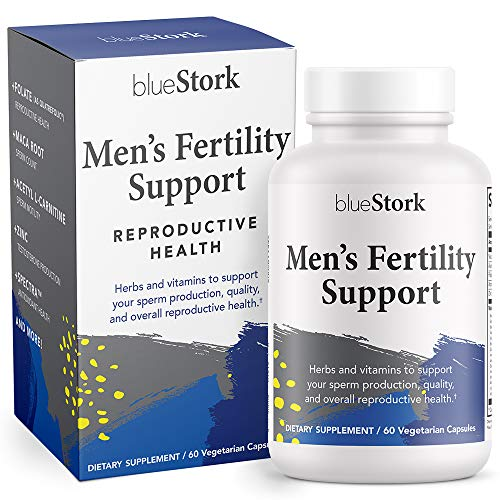 Blue Stork Men's Fertility Support: Fertility Multivitamin for Men, Horny Goat Weed to Support Fertility for Men, Reproductive Health, 60 Vegetarian Capsules