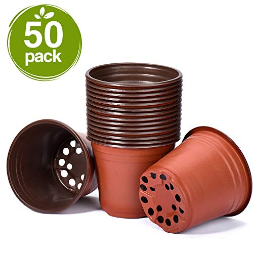Delxo 50 Pcs 6 Inch Plants Nursery Pots Reusable Plant Seeding Nursery Pot Waterproof Plastic Pots Seed Starting Pots
