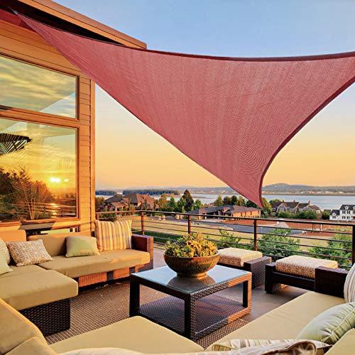 LOVE STORY 16'5'' x 16'5'' x 16'5'' Triangle Terra Red Sun Shade Sail Canopy UV Block Awning for Outdoor Patio Garden Backyard