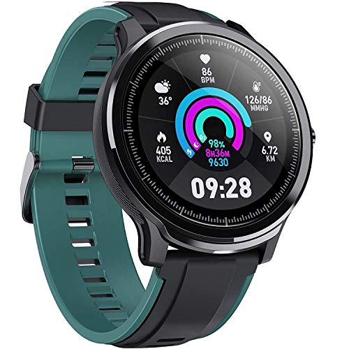 Smart Watch Sport Smart Watch Fitness Tracker for Android and iOS Phone Activity Tracker with 1.3' Full Touch Screen, Camera Music Control IP68 Waterproof Smartwatch,Ultra-Long Battery Life, Green
