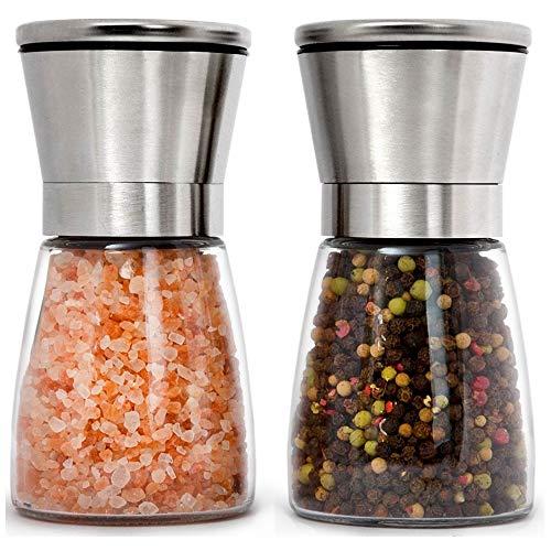 Premium Stainless Steel Salt and Pepper Grinder Set of 2 - Adjustable Ceramic Sea Salt Grinder & Pepper Grinder - Short Glass Salt and Pepper Shakers Pepper Mill & Salt Mill W/Funnel & EBook