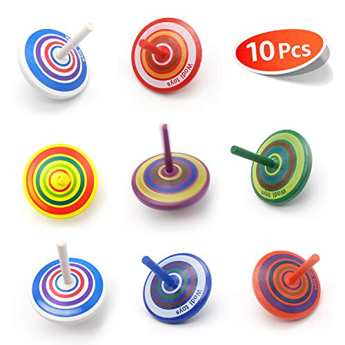 Colorful Painted Wood Spinning Tops, Kids Novelty Wooden Gyroscopes Toy, Assorted Standard Tops, Flip Tops, kindergarten education Toys - Great Party Favors, Fun, Gift, Prize 10 Pcs/set (Multicolored)
