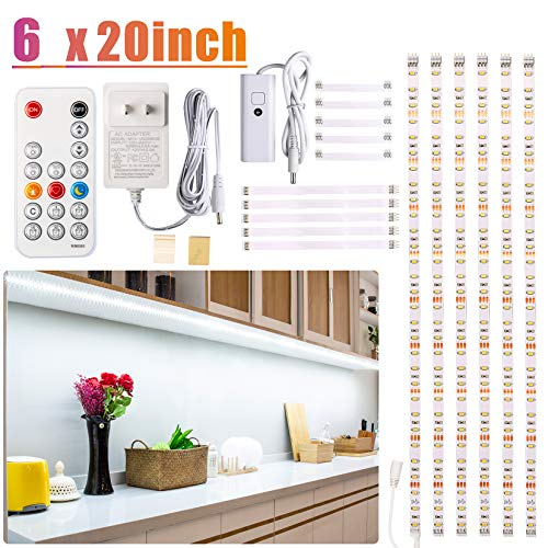 Under Counter Light, Dimmable LED Under Cabinet Lighting, 6 PCS LED Strip Light Bars with Remote Control for Kitchen,Shelf,Pantry,Showcase,Desk,Cupboard 6000K White,Timing, 16W 1500LM,9.8 ft