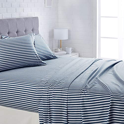 AmazonBasics Lightweight Super Soft Easy Care Microfiber Bed Sheet Set with 16' Deep Pockets - Queen, Navy Pinstripe