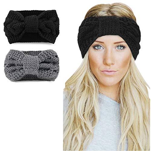 Womens Winter Knitted Headband - Crochet Twist Hair Band Headwrap Hat Cap Ear Warmer,2Pack,Black+gray,One size