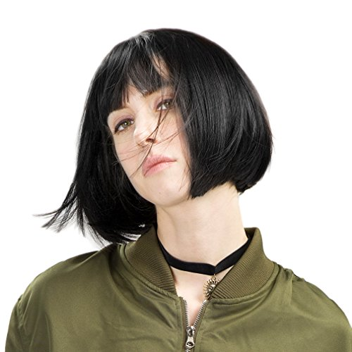 REECHO 11' Short Bob Wig with bangs Synthetic Hair for White Black Women Color: Black