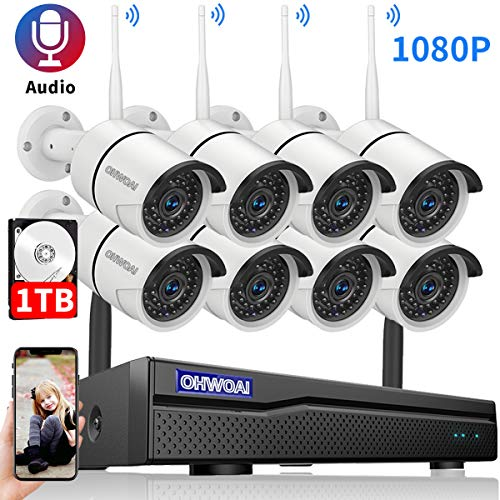 2020 New Security Camera System Wireless, 1TB Hard Drive Pre-Install 8 Channel 1080P NVR, 8PCS 1080P 2.0MP CCTV WI-FI IP Cameras for Homes,OHWOAI HD Surveillance Video Security System.