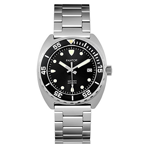 Pantor Sealion 300m Mens Automatic 42mm Pro Dive Watch with Helium Valve Rotating Bezel Sapphire Black dial Stainless Steel Bracelet & Rubber Strap Diving Watch