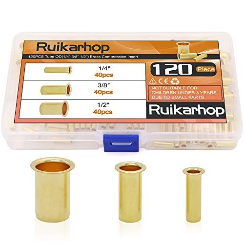 Ruikarhop 120PCS Tube OD(1/4' 3/8' 1/2') Brass Compression Insert,Brass Compression Fitting Assortment Kit