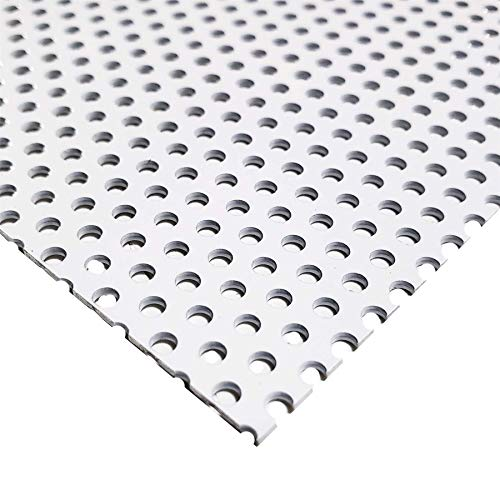 Online Metal Supply White Painted Aluminum Perforated Sheet, 0.040' x 12' x 24' (1/8' Hole, 3/16' Center)