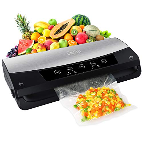Belifu Vacuum Sealer Machine, Automatic Vacuum Air Sealing System For Food Savers with Starter Kit, Compact Design, Dry & Moist Food Modes, Built-in Cutter, LED Indicator Lights, Compact Design for Sous Vide and Food Storage (Stainless Steel)