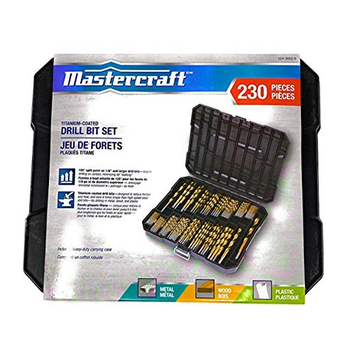 MASTERCRAFT Titanium Twist Drill Bit Set – 230 Pcs | Coated High-Speed Steel for Wood, Plastic, and Metal with Storage Case | 1/16' - 1/2 Inch