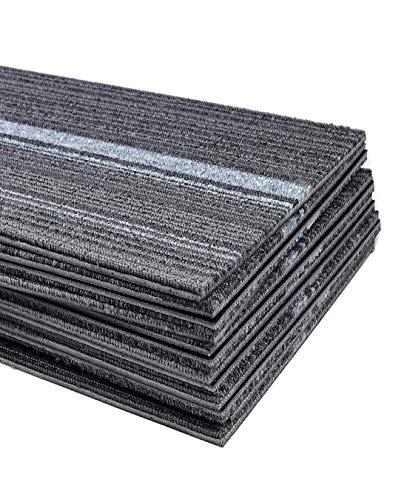 Commercial Strip Carpet Tile 39.37 x 9.84 inch Heavy Duty Washable Carpet Floor Tile Non Slip Thick PVC Backed Carpet Tile for Indoor Home Office Apply - 12 Tiles Per Carton
