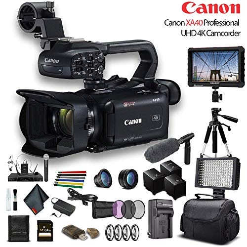 Canon XA40 Professional UHD 4K Camcorder (3666C002) W/ 2 Extra Battery, Soft Padded Bag, 64GB Memory Card, 3 Piece Filter Kit, LED Light, Lenses, 4K Monitor, Sony Mic and More Professional Bundle