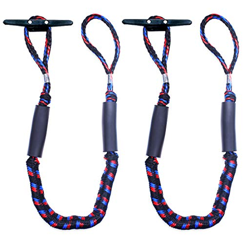 Botepon 2Pcs Boat Dock Line, Bungee Cords for Boats, Boating Gifts for Men, Boat Accessories, Pontoon Accessories, Perfect for Jet Ski, SeaDoo, Yamaha WaveRunner, Kayak, Pontoon (5 Feet)