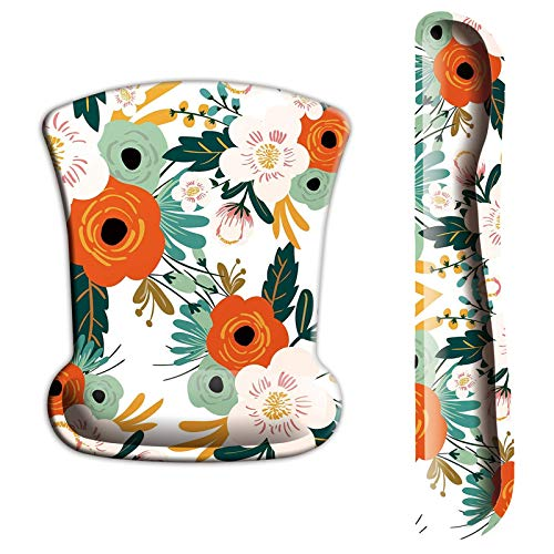 ITNRSIIET Upgraded Ergonomic Keyboard Wrist Rest and Mouse Wrist Rest Pad Set, Cute Flower Wrist Pad with Non-Slip Base for Computer, Laptop, Gaming, Working, Easy Typing & Pain Relief