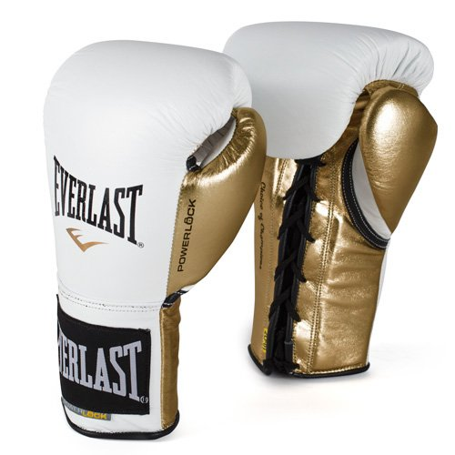 Everlast PowerLock Pro Fight Gloves 10oz Wht/Gld PowerLock Pro Fight Gloves