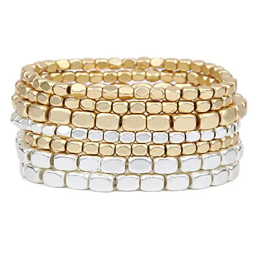 Rosemarie Collections Women's Two Tone Chunky Nugget Stacking Statement Stretch Bracelet Set of 7 (Two Toned-Gold/Silver)