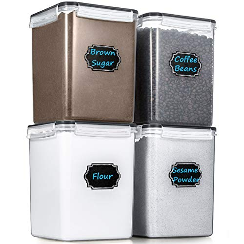 Large Cereal Storage Containers, Wildone Airtight Cereal & Dry Food Storage Containers for Sugar, Flour, Snack, Baking Supplies, Leak-proof with Black Locking Lids - Set of 4 (5.2L /175oz)