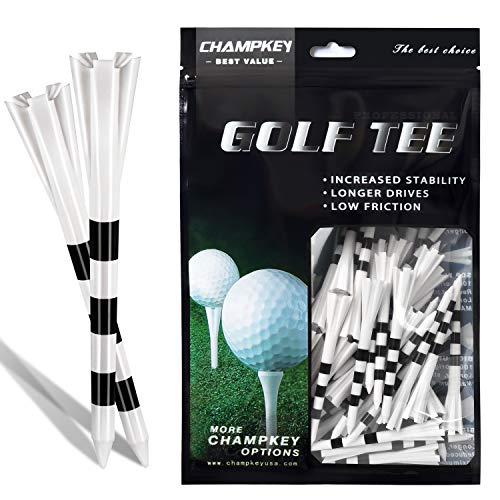 Champkey SDP Plus Golf Tees (75 Pack or 30 Pack)- Reduces Friction & Side Spin 5 Prongs Plastic Tees