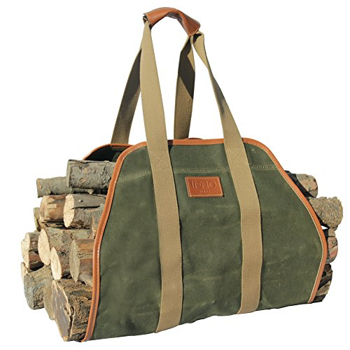 INNO STAGE Waxed Canvas Log Carrier Tote Bag,40'X19' Firewood Holder,Fireplace Wood Stove Accessories
