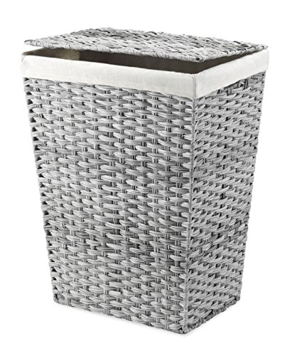 Whitmor Liner and Lid Laundry Hamper, Gray Wash