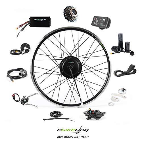 EBIKELING 36V 500W 26' Geared Rear Waterproof Electric Bicycle Conversion Kit (Rear/LED/Twist)