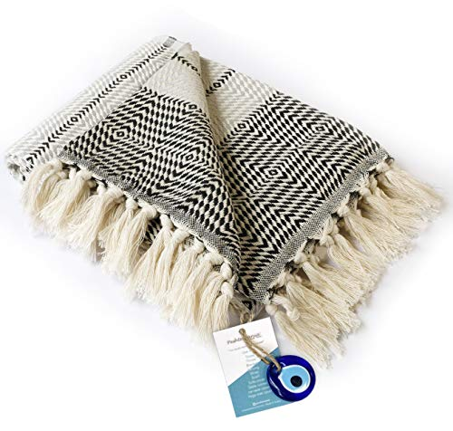 "Luxury Fringe Throw Blanket Decorative Lightweight 100% Cotton |40""x71""